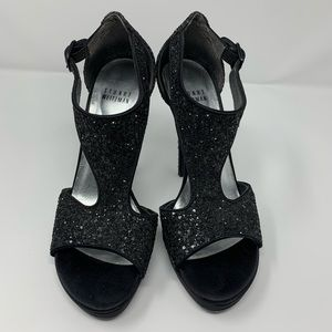 STUART WEITZMAN Loverly Black Sparkly T-Strap